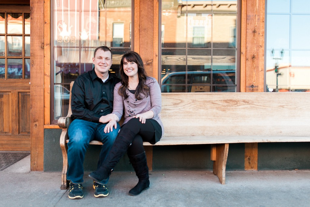Romantic couples photography in downtown Laramie Wyoming.