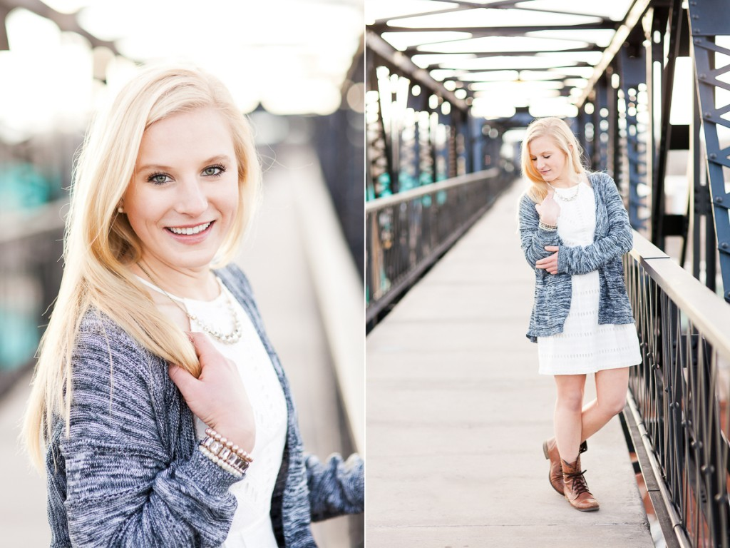 Senior portraits on walking bridge in downtown Laramie, Wyoming, by Megan Lee Photography.