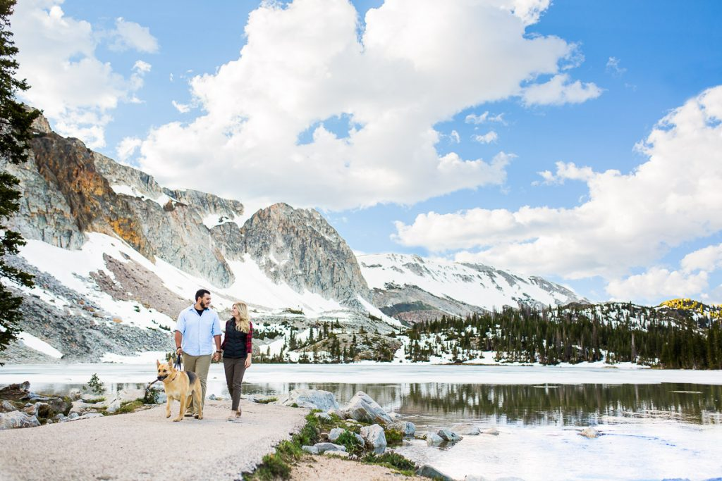 We started the evening out at Lake Marie where the two walked Sylus around the shore line, overlooked by the lofty Medicine Bow Peak.