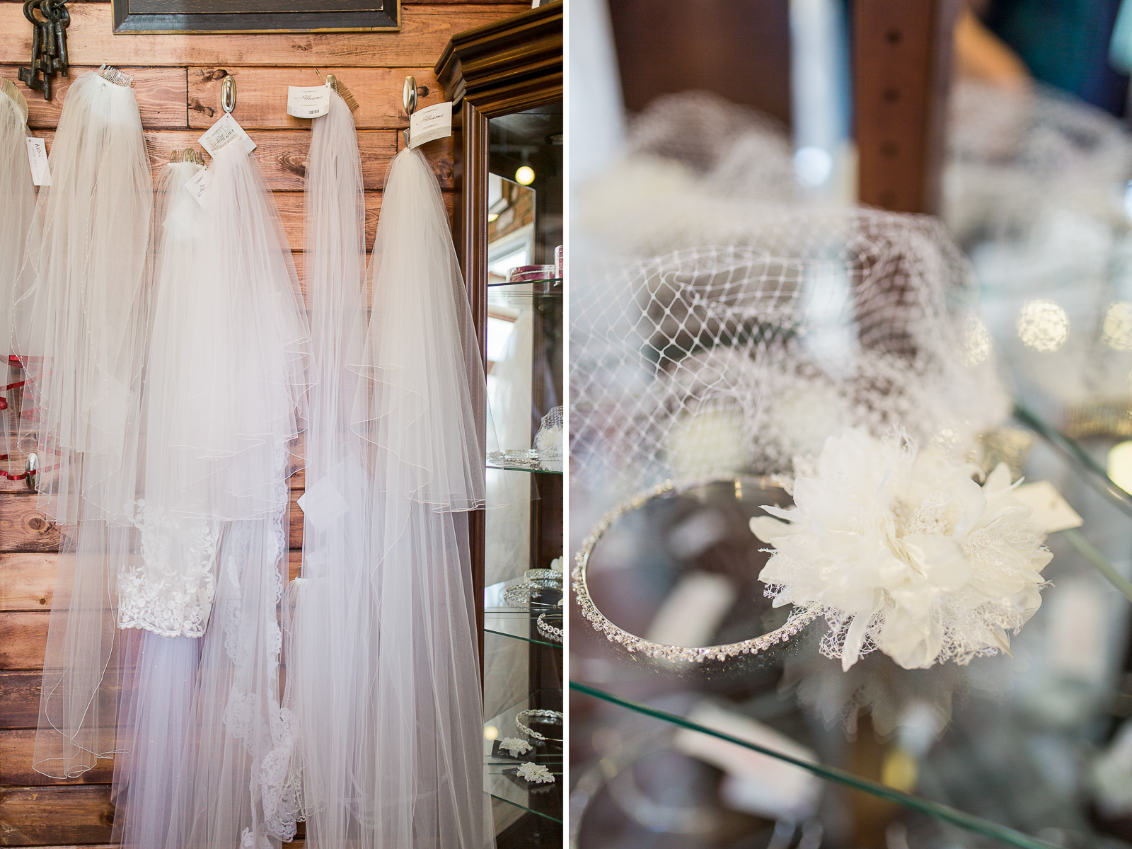 and they also carry a veil and hair accessory selection to help any bride finish her look.