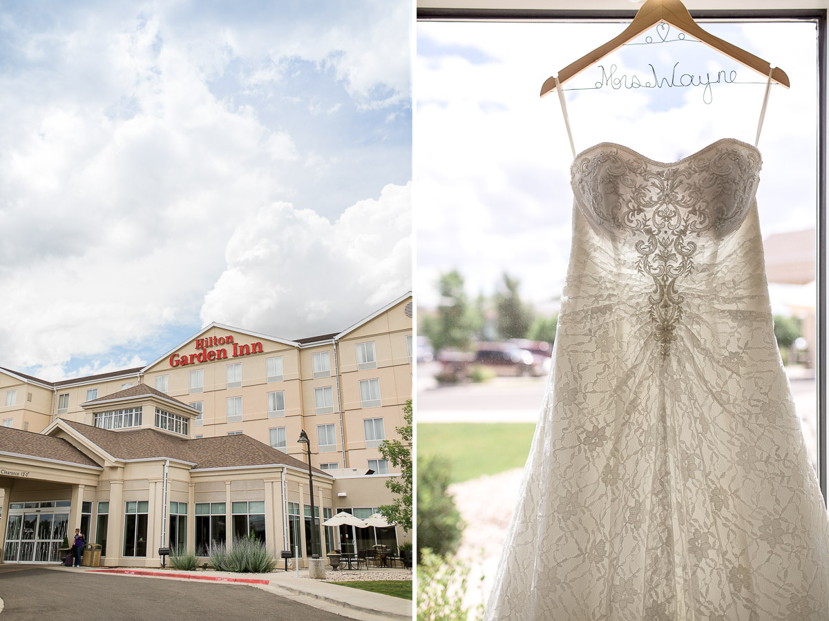 Lexxi, her family, and bridesmaids all got ready and prepped for the day at the Laramie Hilton Garden Inn.