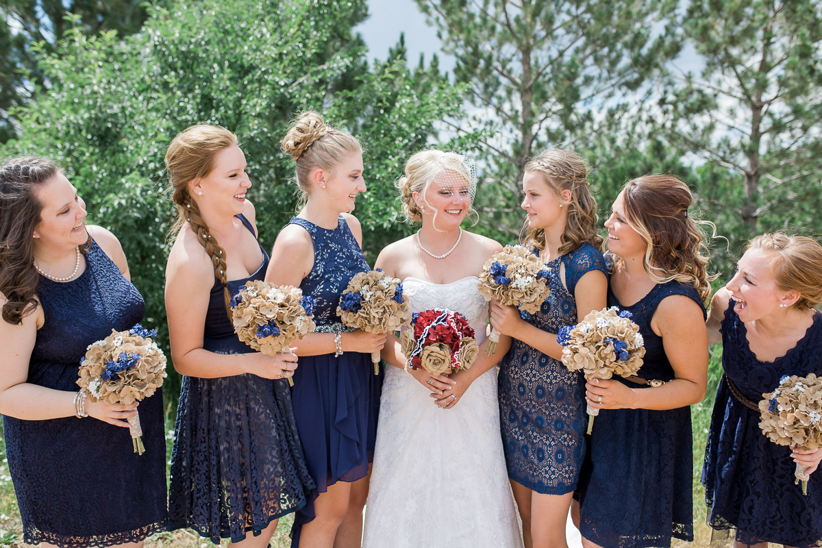 I love all the royal blues and lace tones in these mix-and-match style bridesmaid dresses.