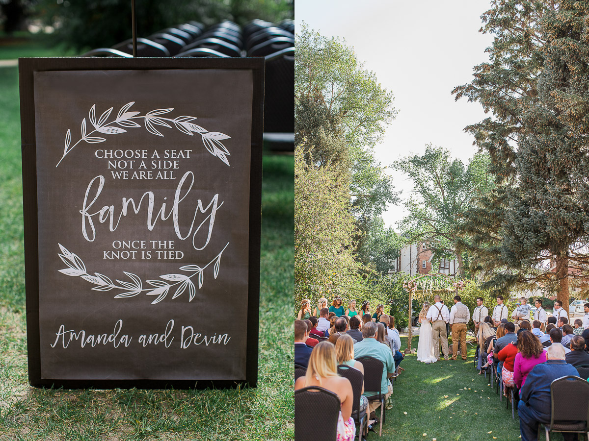 This lawn made the perfect location for exchanging vows, and this whimsical sign by Minty Paperie Shop was the perfect way to greet guests.