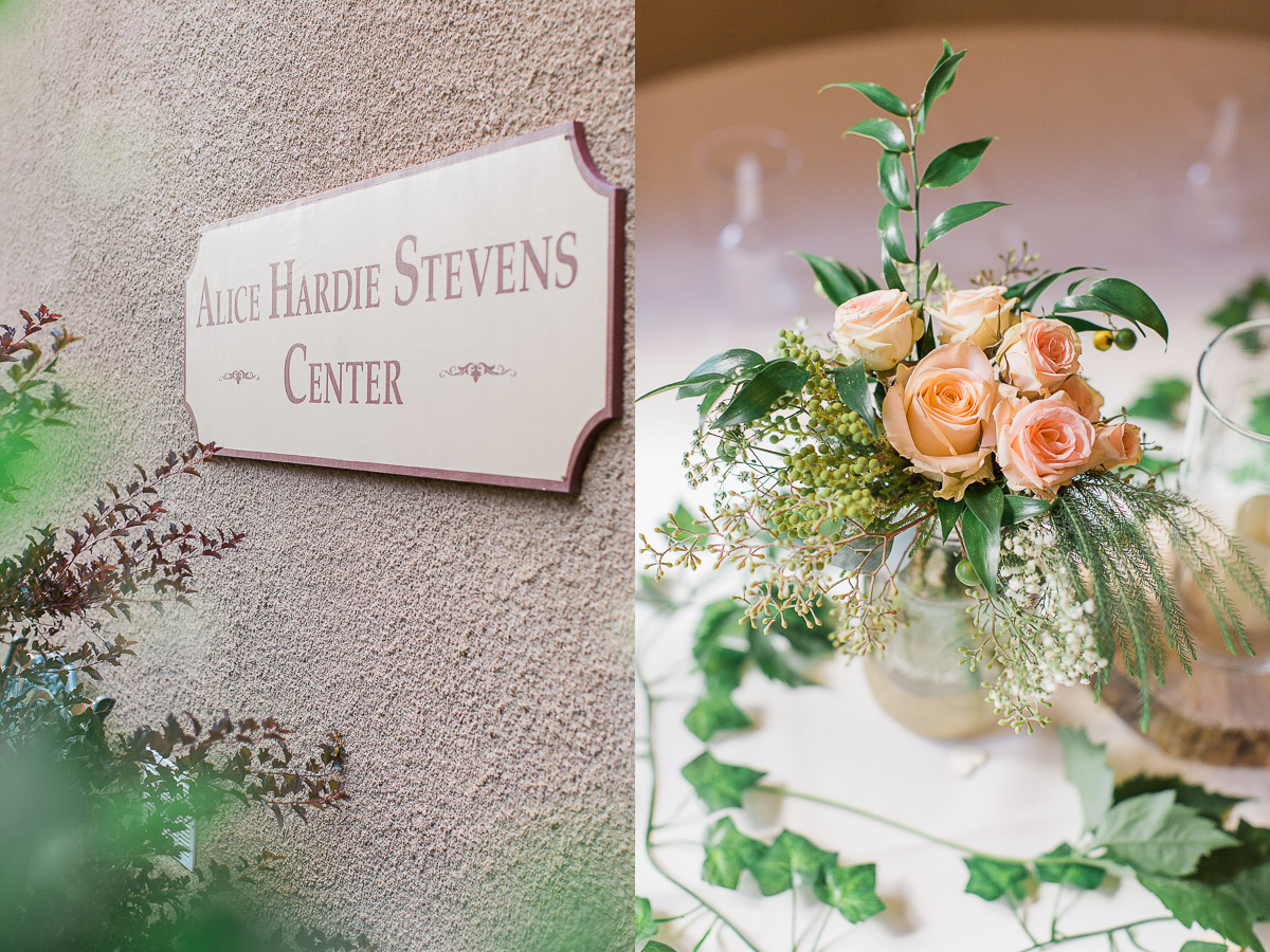 The Alice Hardie Stevens Center was the perfect venue for their evening reception. The large doors opened out into the lawn so guests could enjoy the evening air.
