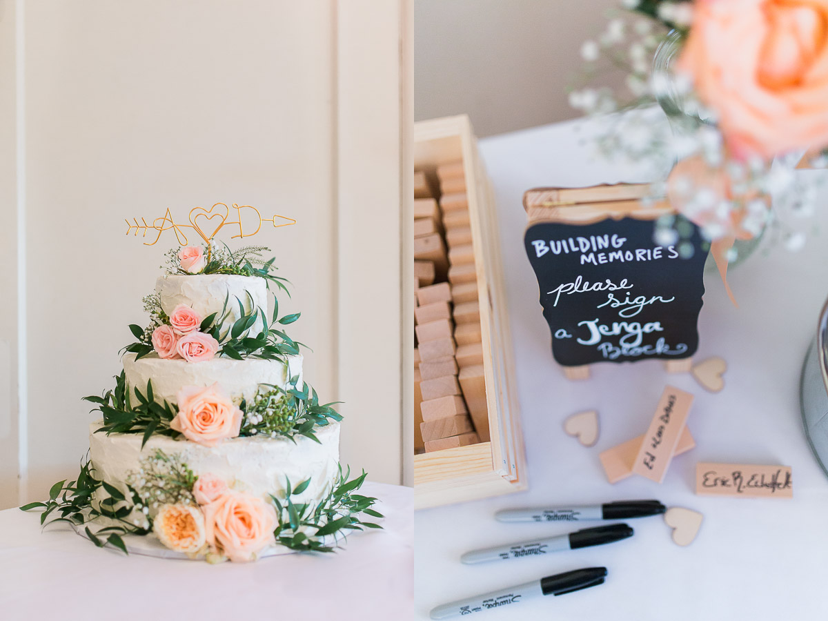 This cake from Sweet's Wyoming was a true masterpiece and this Jenga sign-in will make the perfect keepsake for them as they build their lives together.