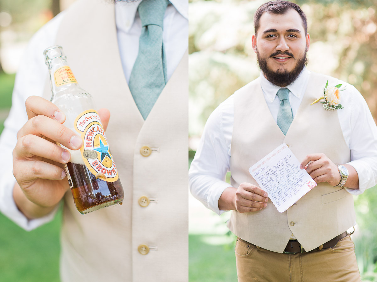 If you hide your drink in the garden during photos, there's a good chance you'll have a hanger-on when you pick it back up. Can you see it? Also, Devin with his hand-written vows.