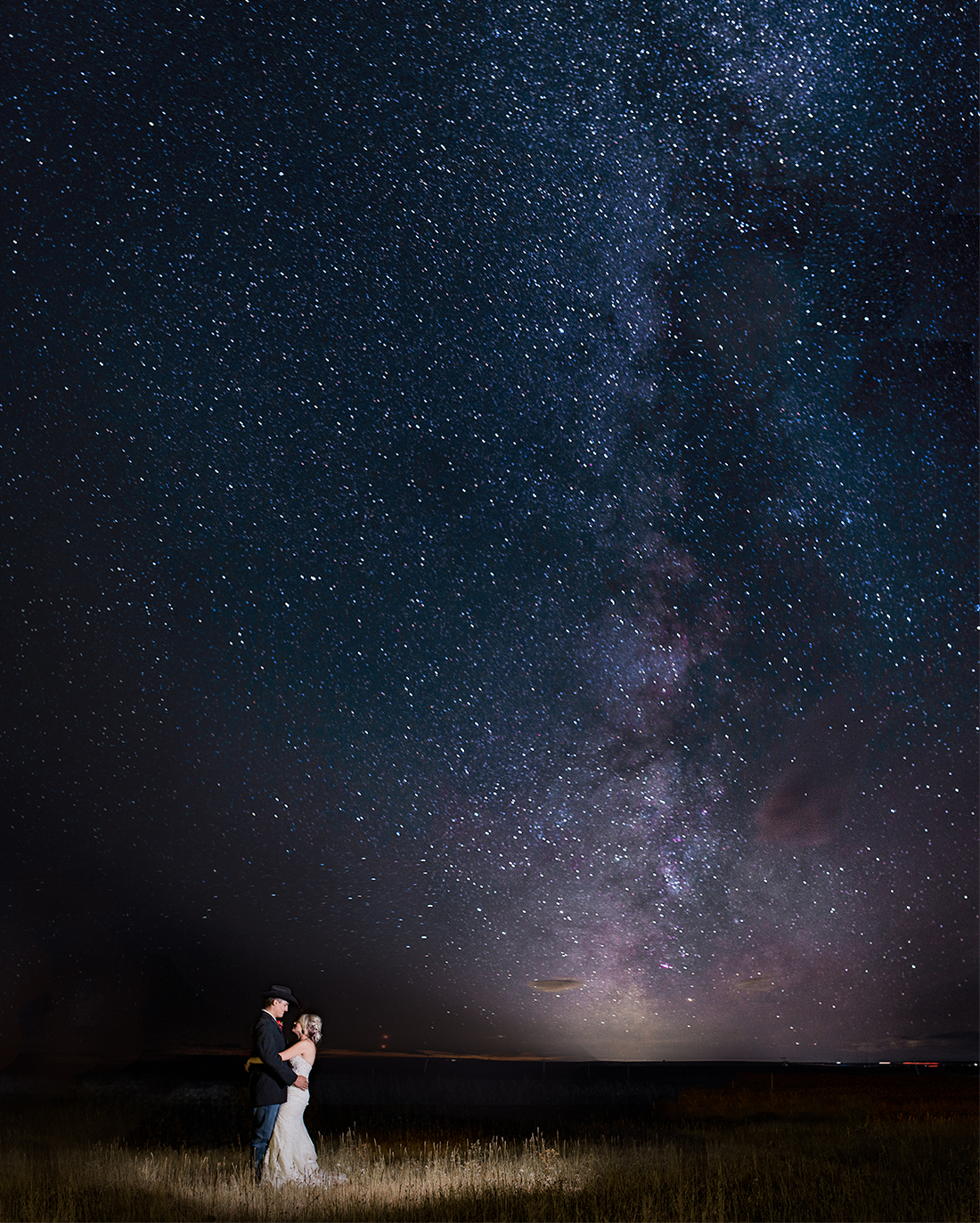 Night sky Milky way wedding photography in Wyoming