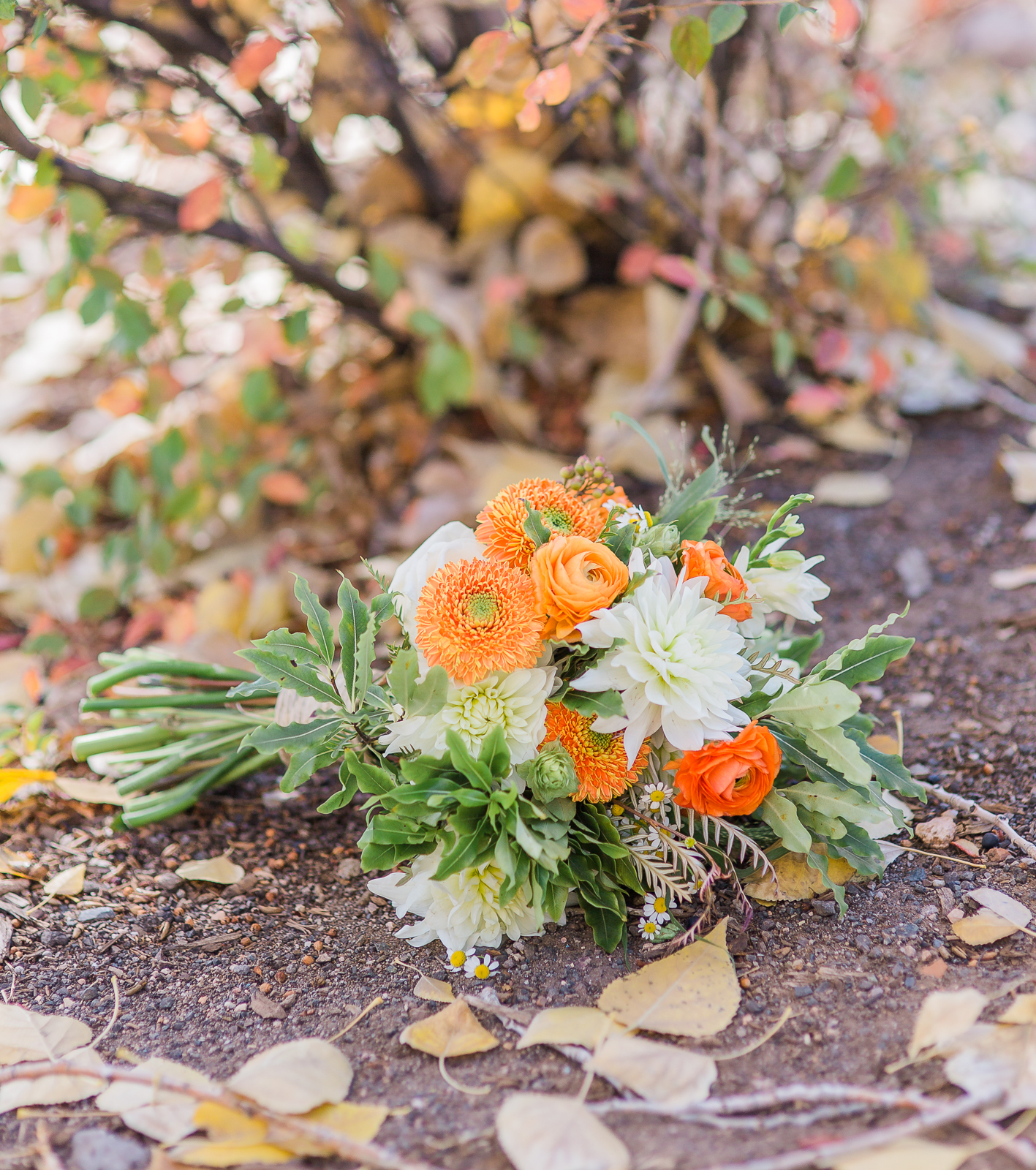 This casual elopement bouquet from Poppys features hops flowers and fall tones, perfect for this beer-loving couple's fall elopement.