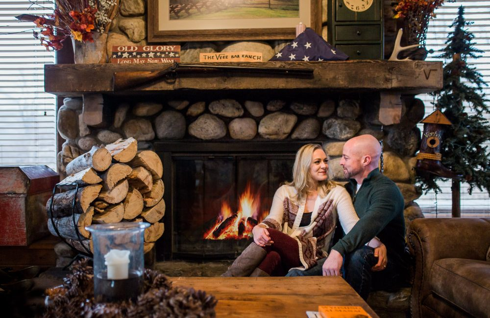 Vee Bar Winter Engagement session by wedding photographer Megan Lee Photography, based in Laramie Wyoming
