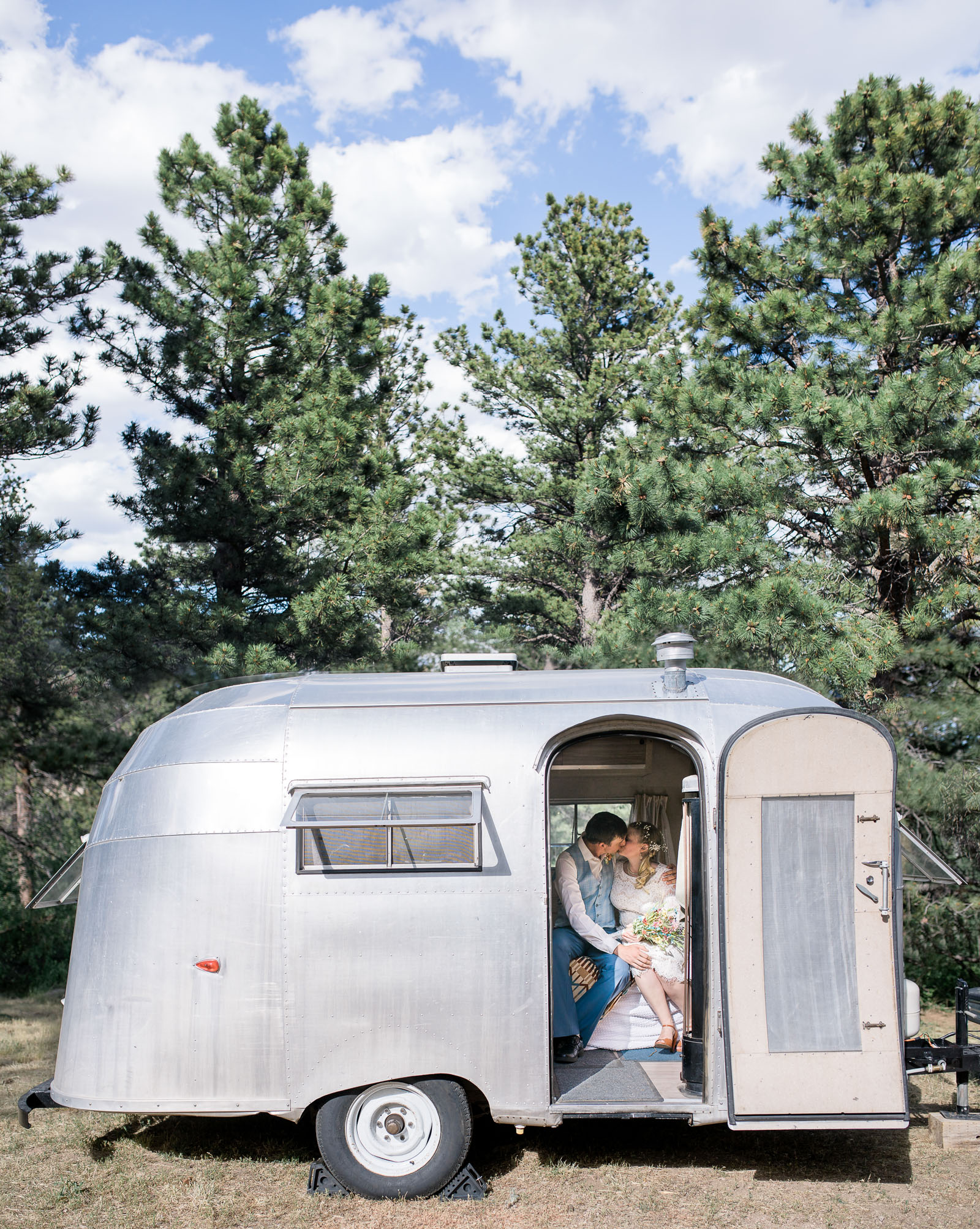 1958 airstream at vintage Wyoming wedding