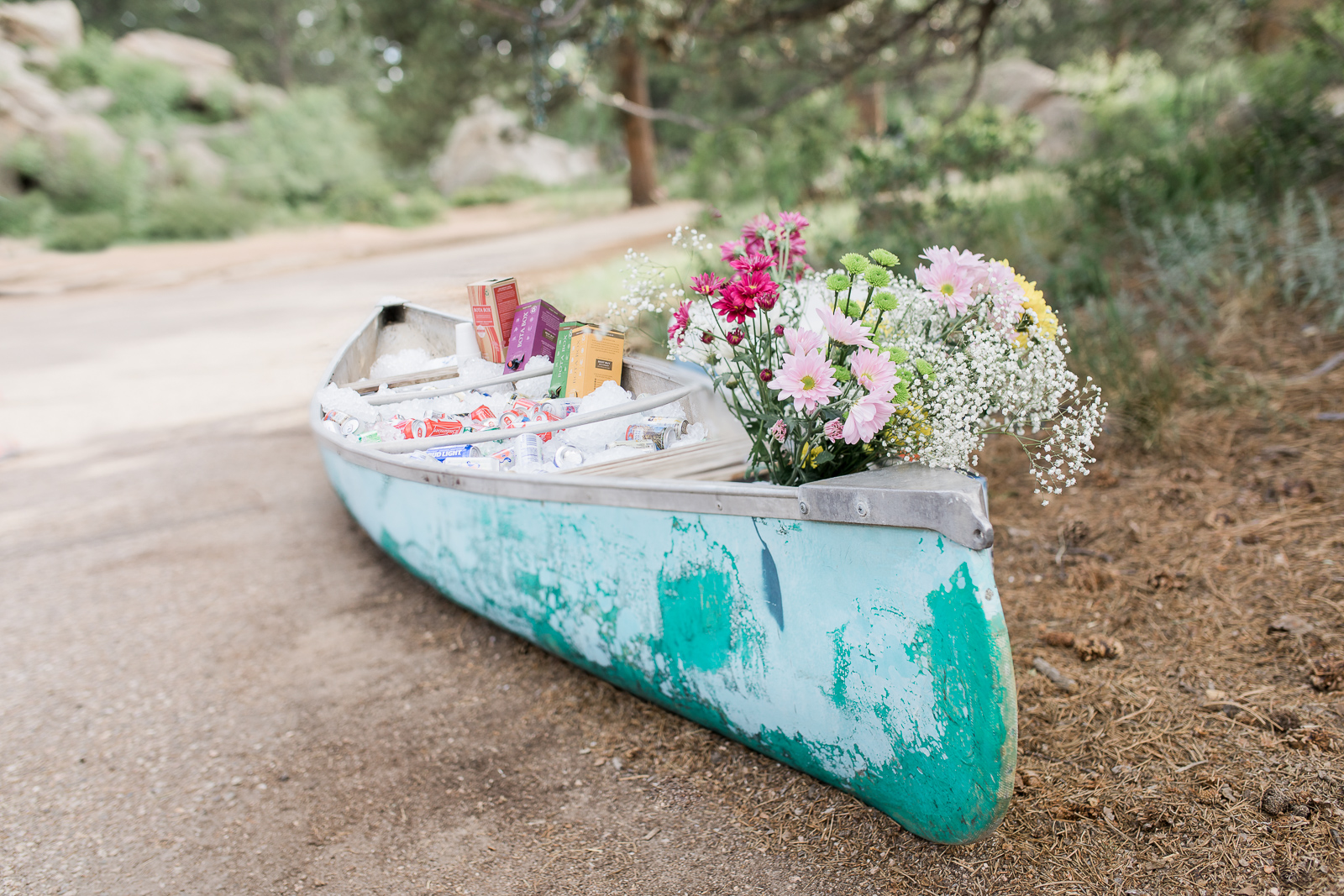 vintage canoe as a cooler for wedding reception