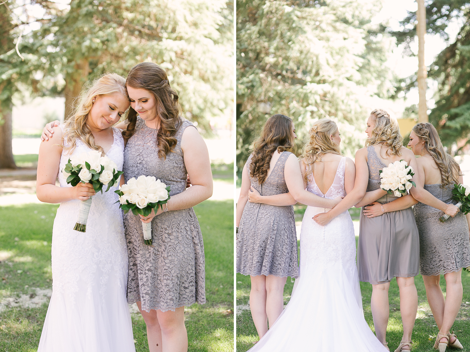 Gray Lace Bridesmaids Dress