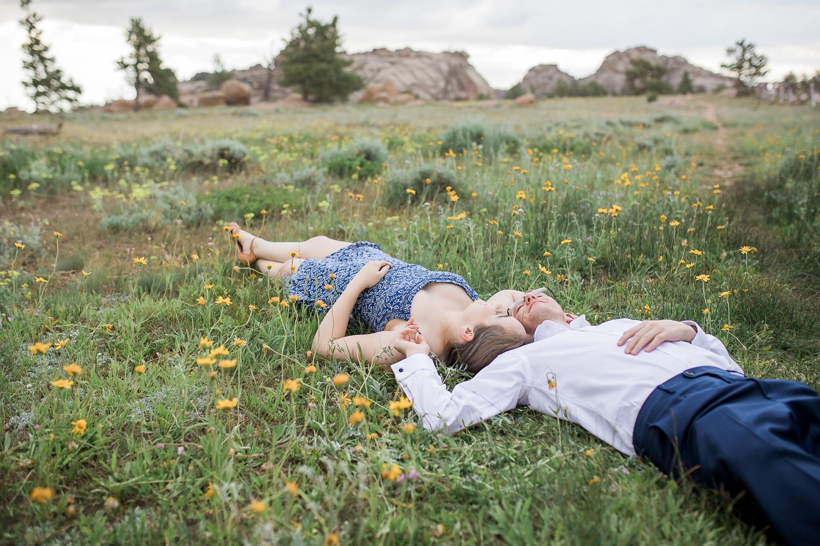 Wildflower Engagement Photos by Laramie based Photographer Megan Lee Photography