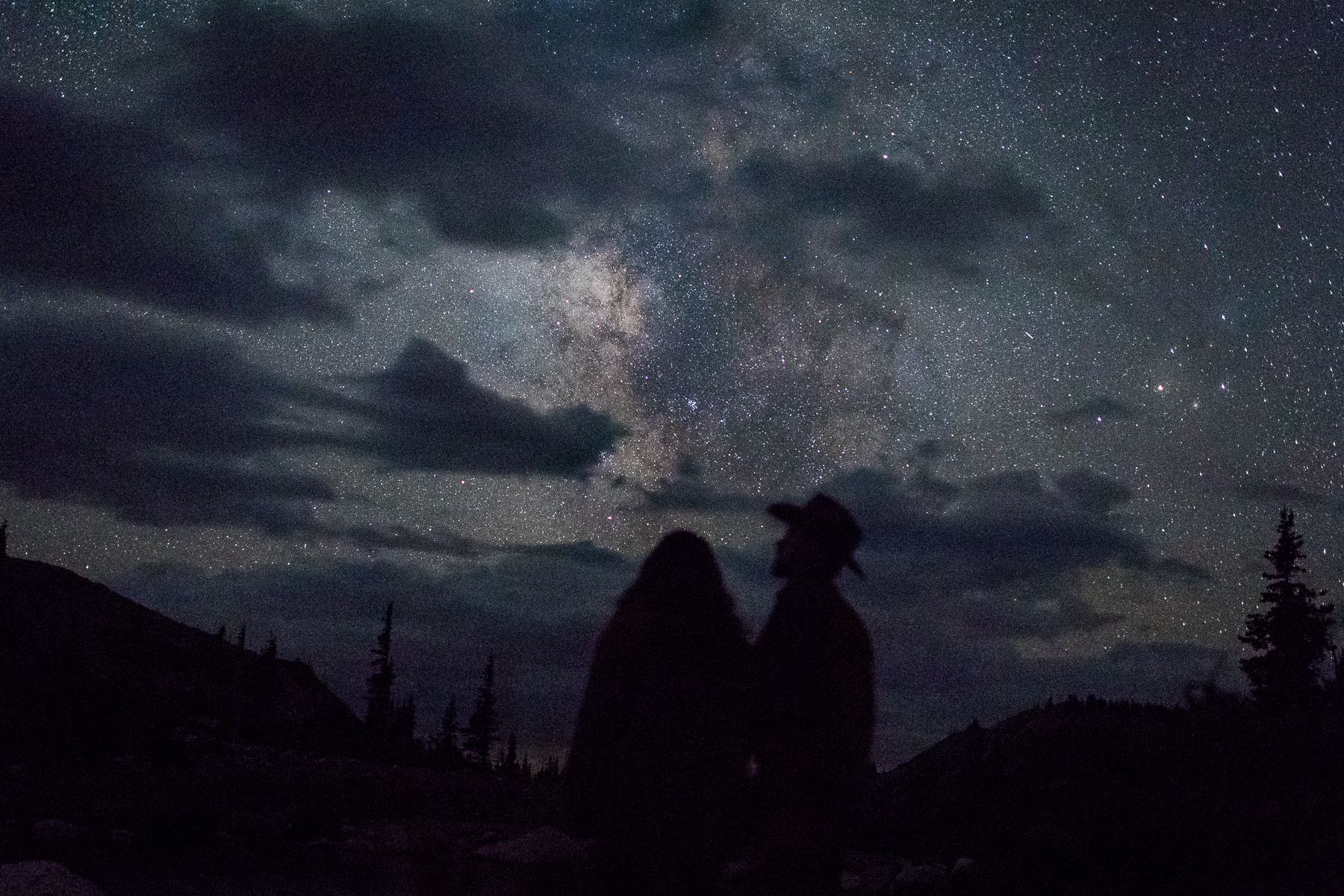 Night sky Snow Range engagement session in Wyoming