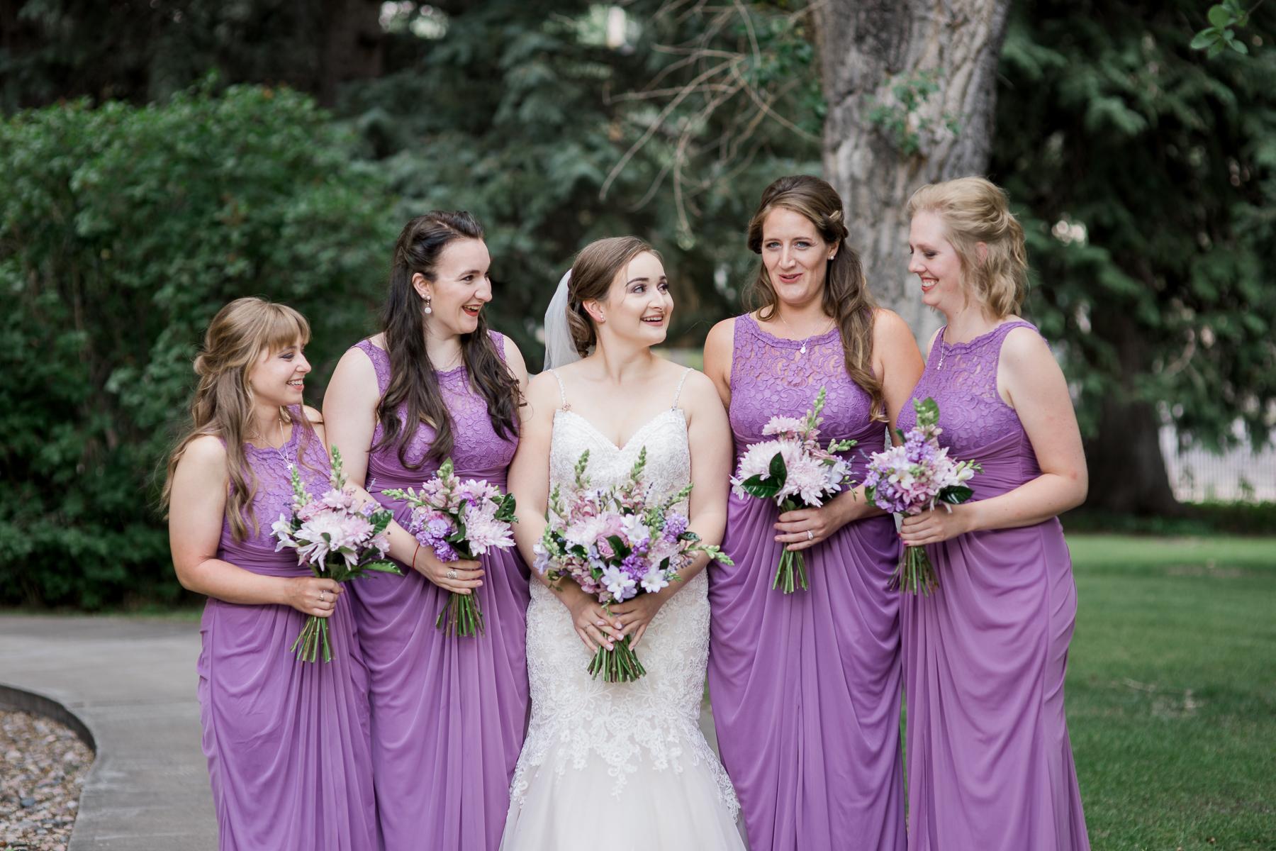 Purple lace bridesmaids dresses