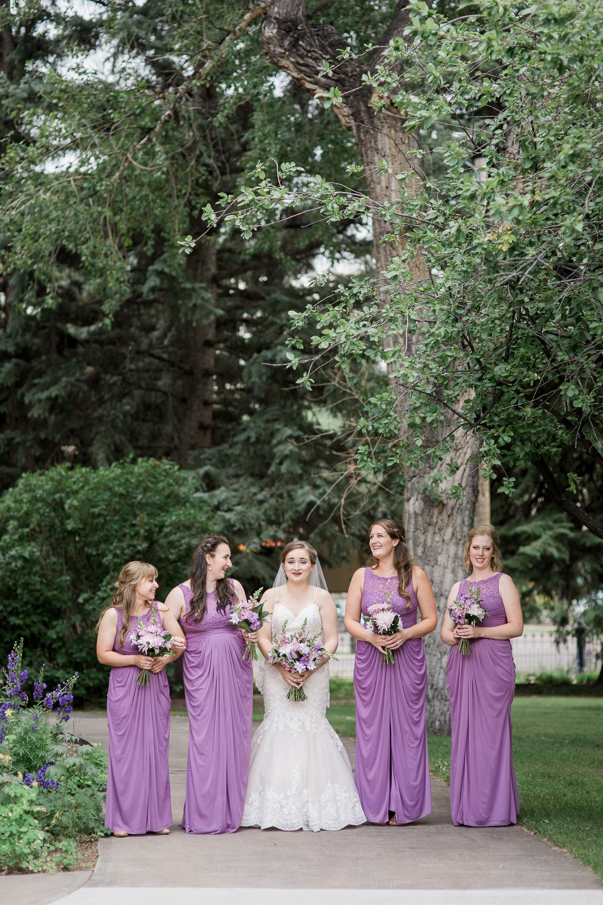 Floor length lavender bridesmaids dresses