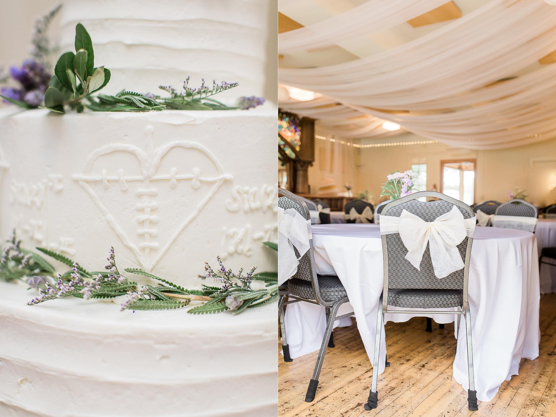 Personalized white wedding cake