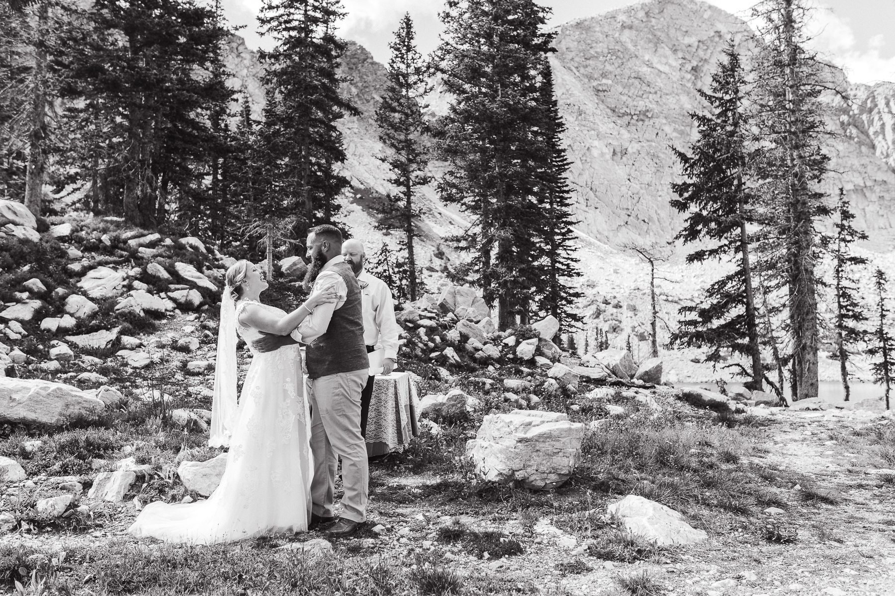 Intimate ceremony in The Snowy Range Mountains by Wyoming based photographer, Megan Lee Photography