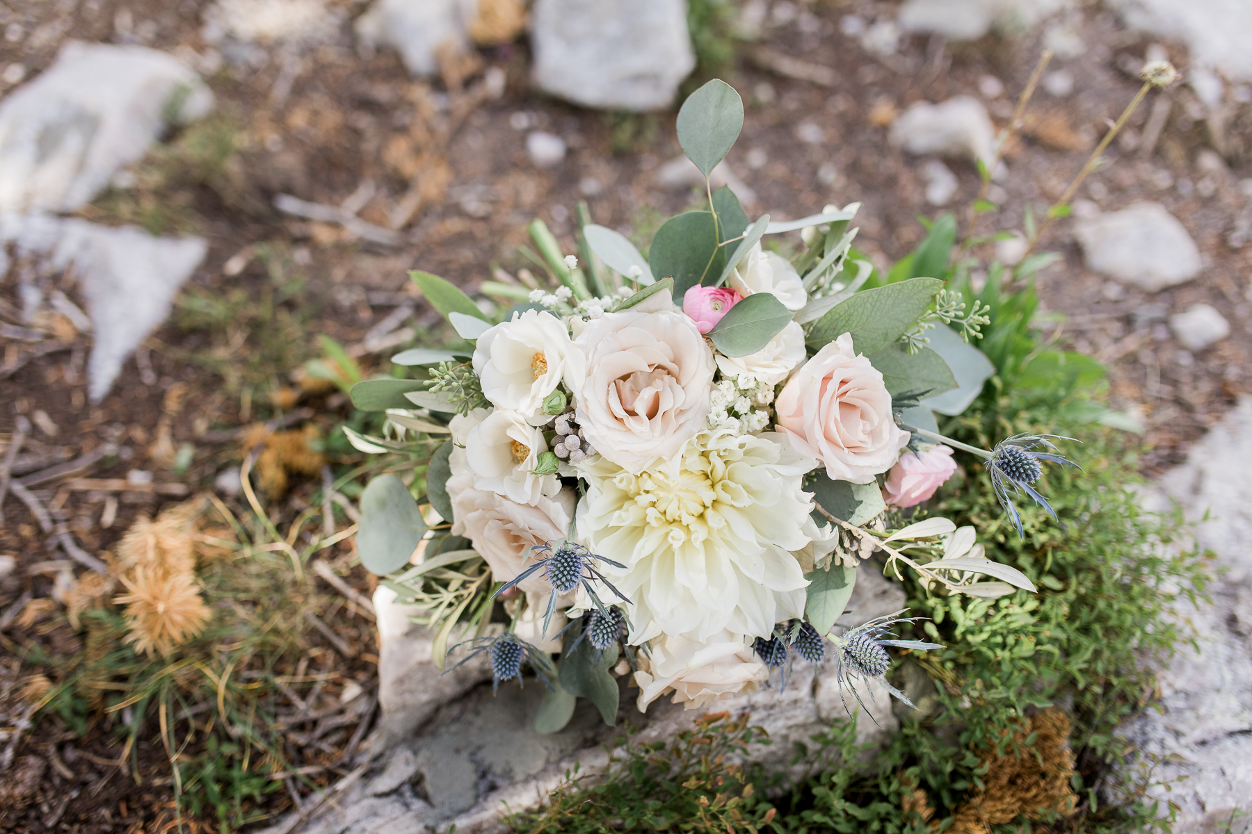 neutral bridal bouquet at Lake Marie Elopement in Wyoming