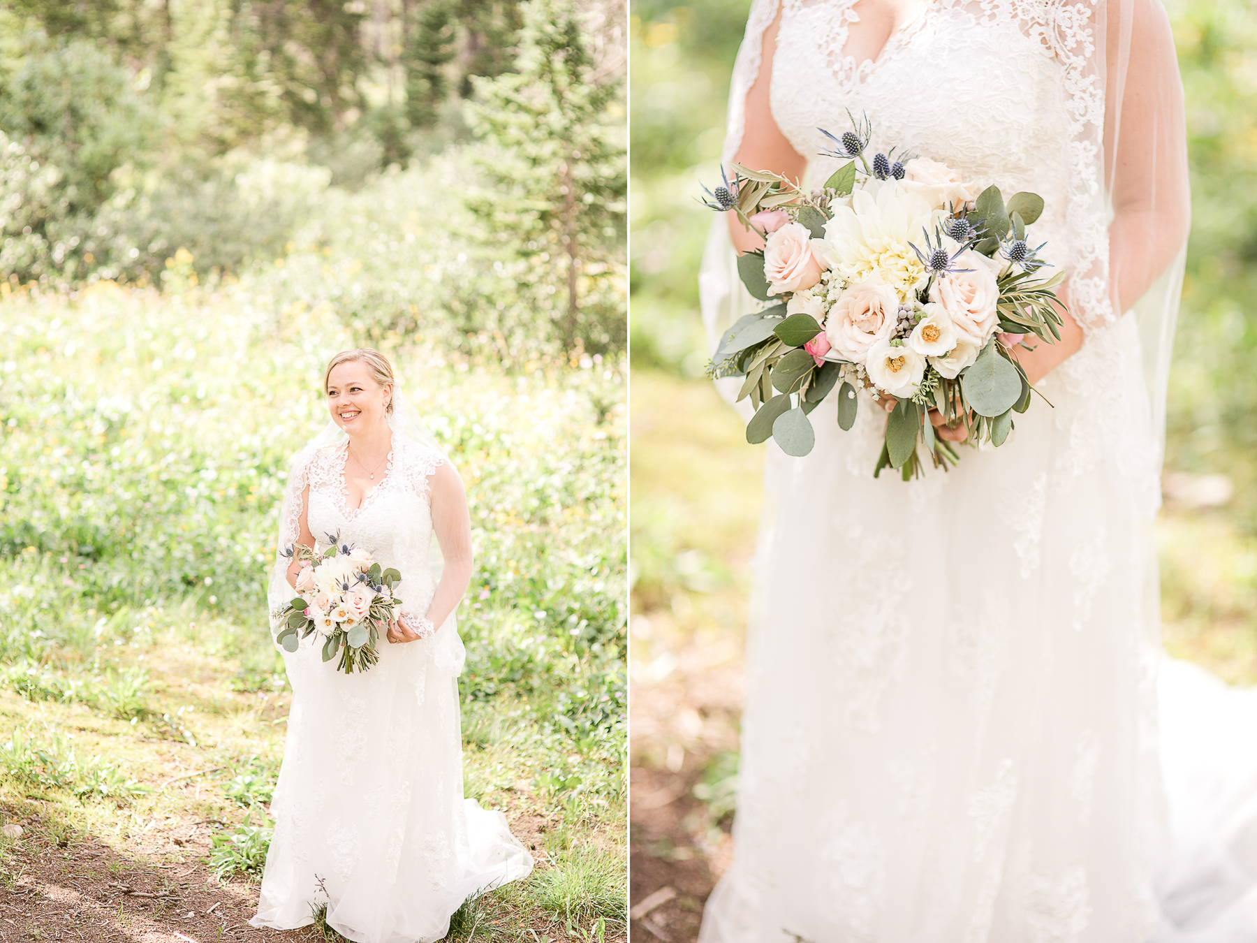 White lace bridal gown and neutral bridal bouquet