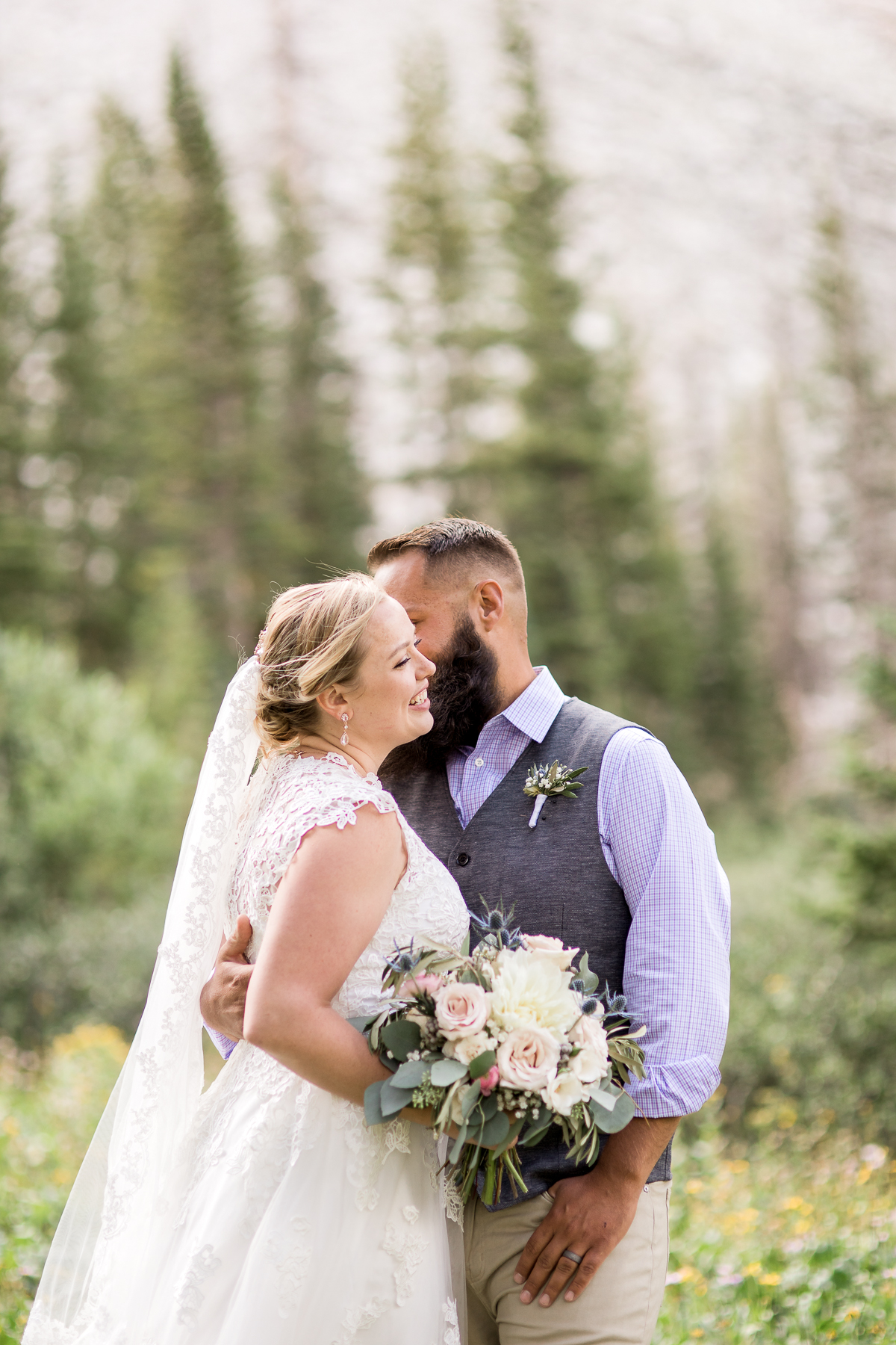 Formal portraits at elopement at Lake Marie by Laramie based photographer, Megan Lee Photography