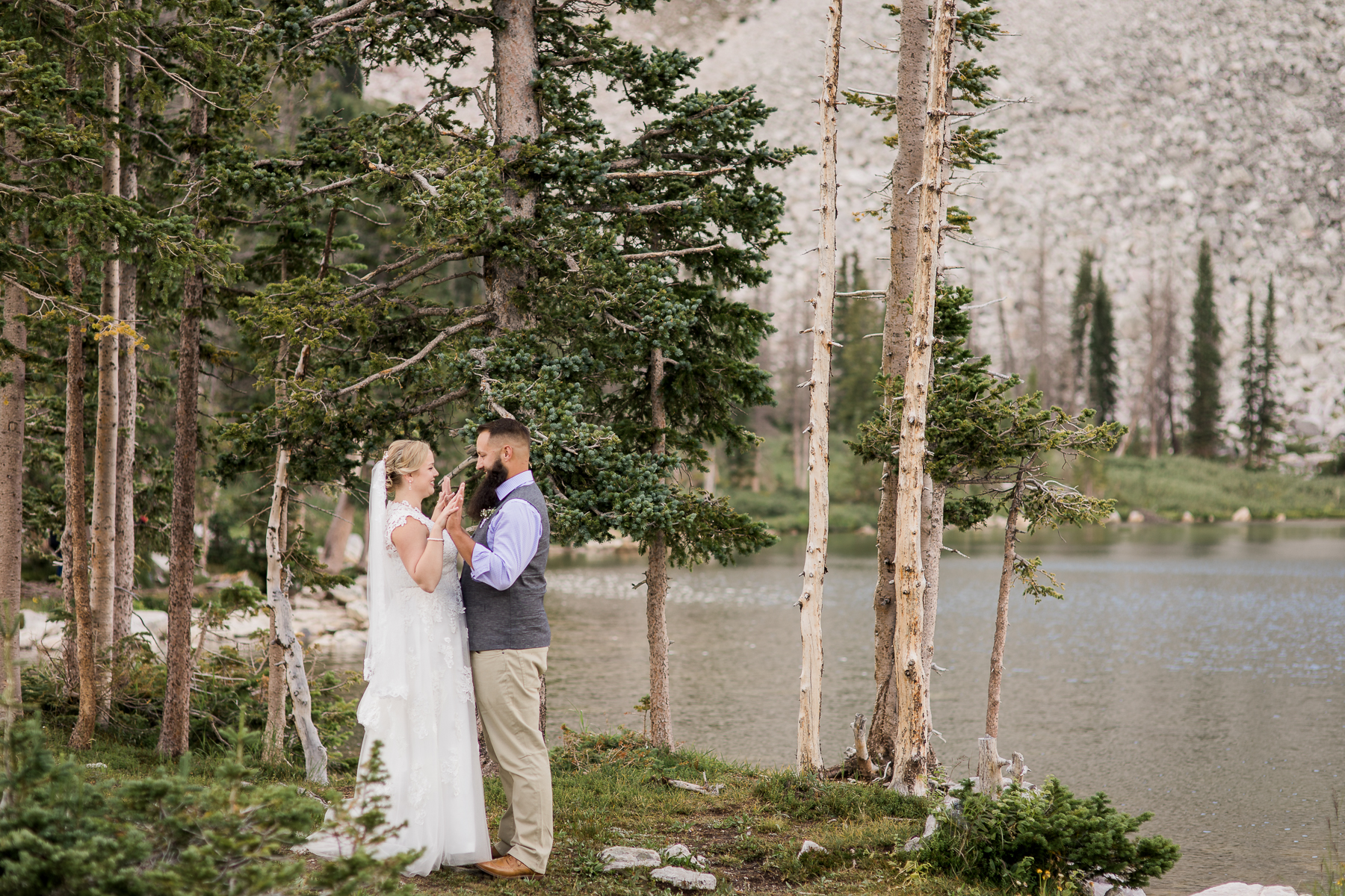 Intimate Lake Marie wedding in the Snowy Range Mountains of Medicine Bow National Forest near Centennial Wyoming. Photography by Megan Lee Photography based in Laramie Wyoming.