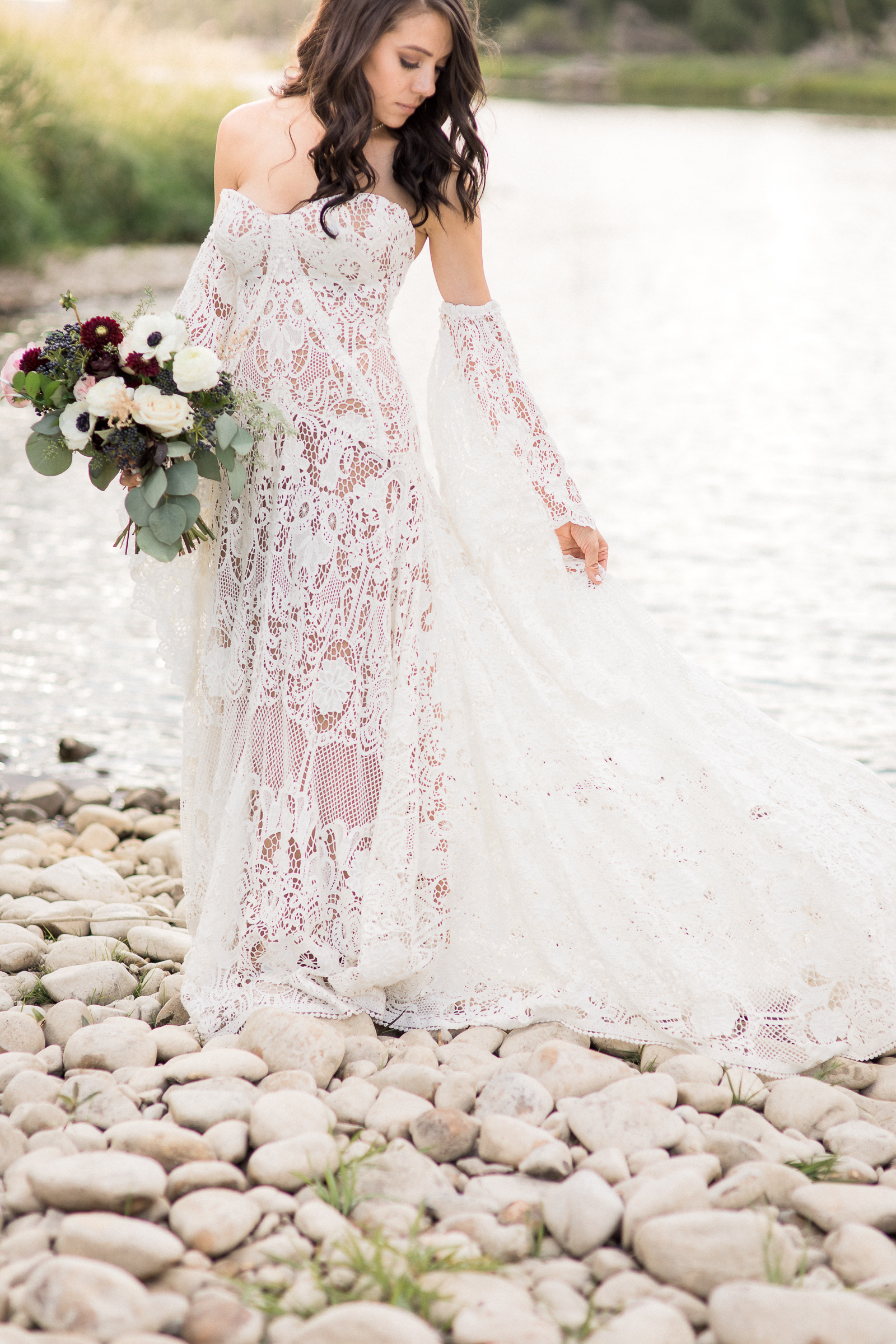 White strapless lace boho wedding gown