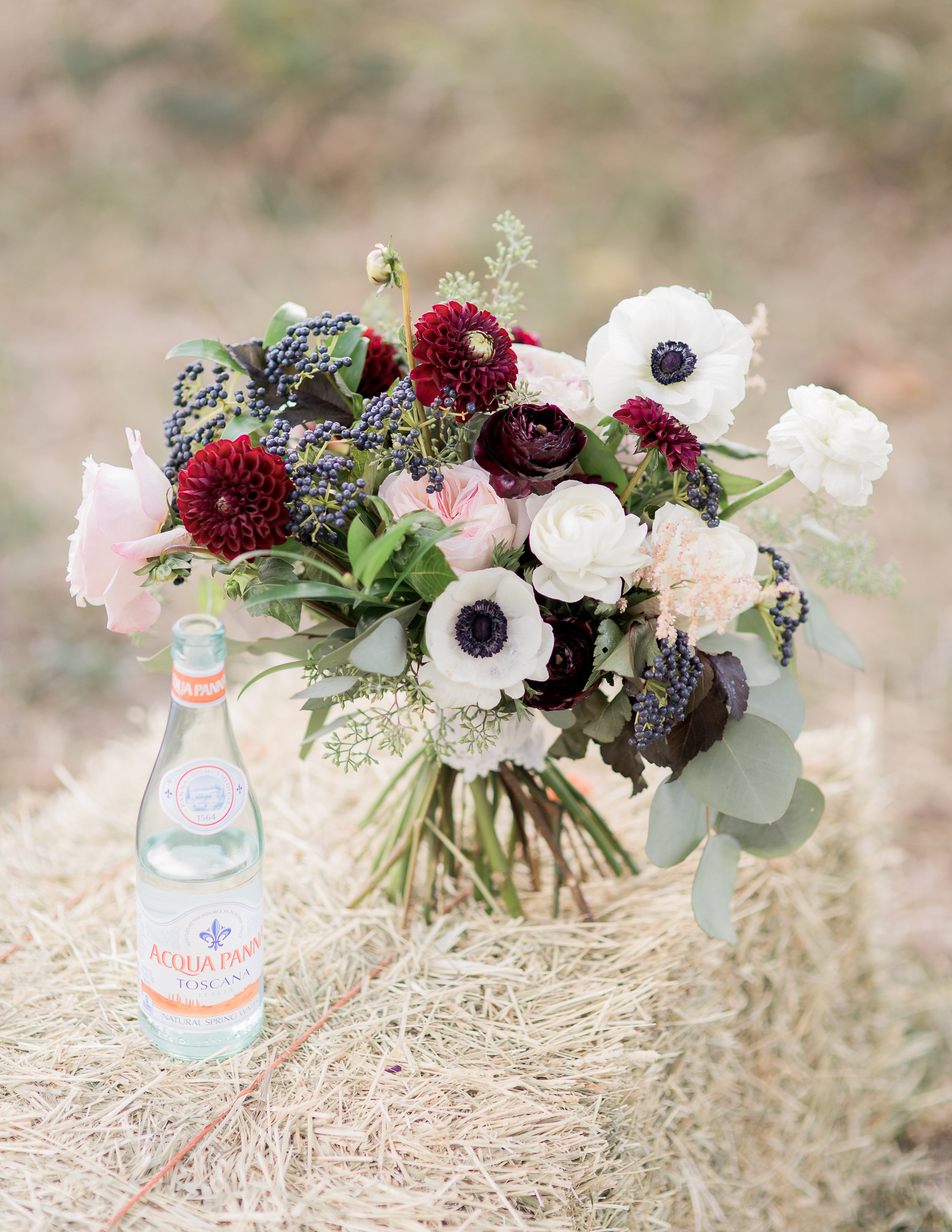 Boho inspired bridal bouquet with peonies and poppies