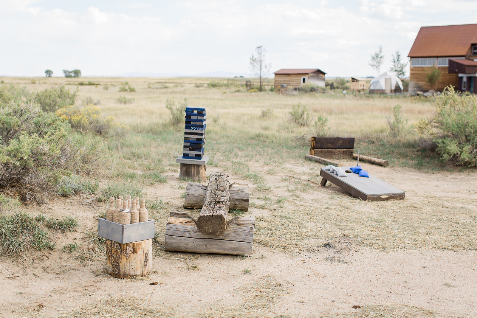 Yard games at boho inspired wedding in Wyoming