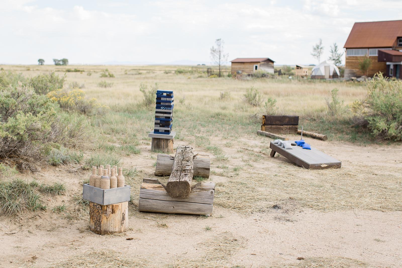 Yard games at boho inspired wedding in Wyoming