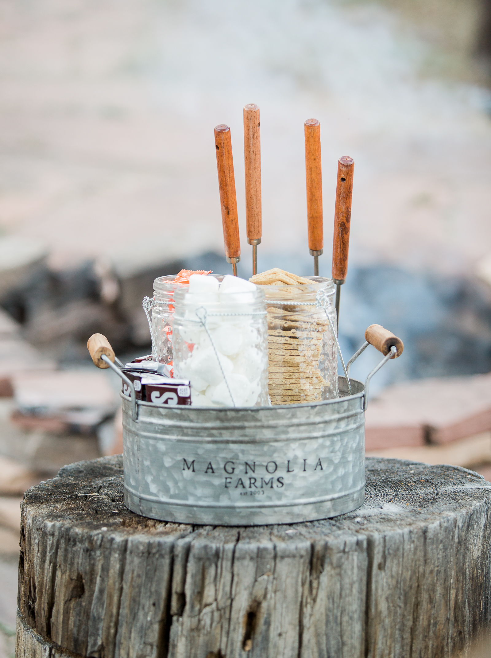 S'mores at a boho inspired wedding in Wyoming
