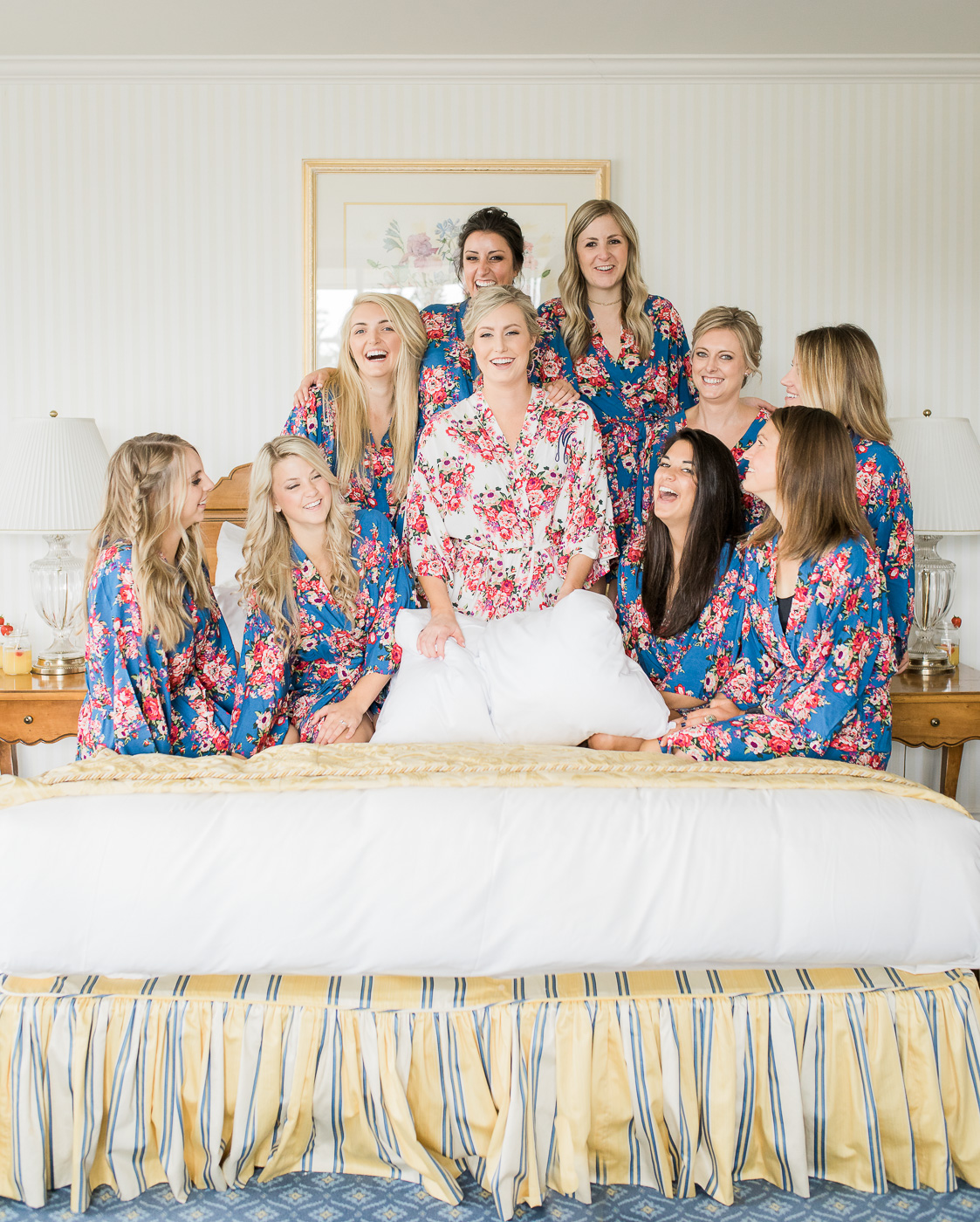 Matching floral bridesmaids robes