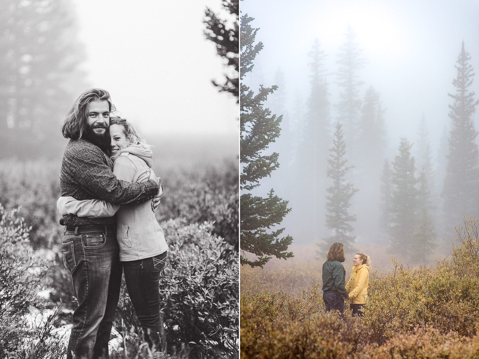 Engagement photos in the fog in Wyoming