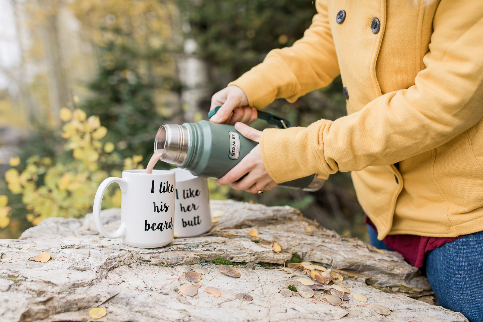 Engagement photos with hot chocolate in the fall