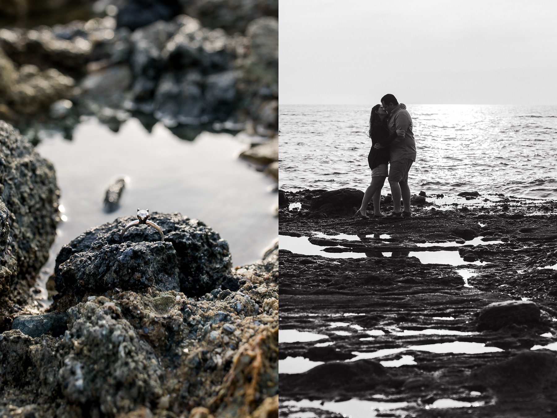 Tide pool engagement photos by Megan Lee Photography
