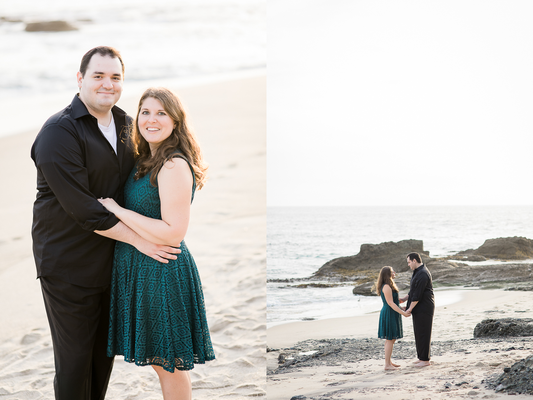 Sunset beach engagement photos by Megan Lee Photography