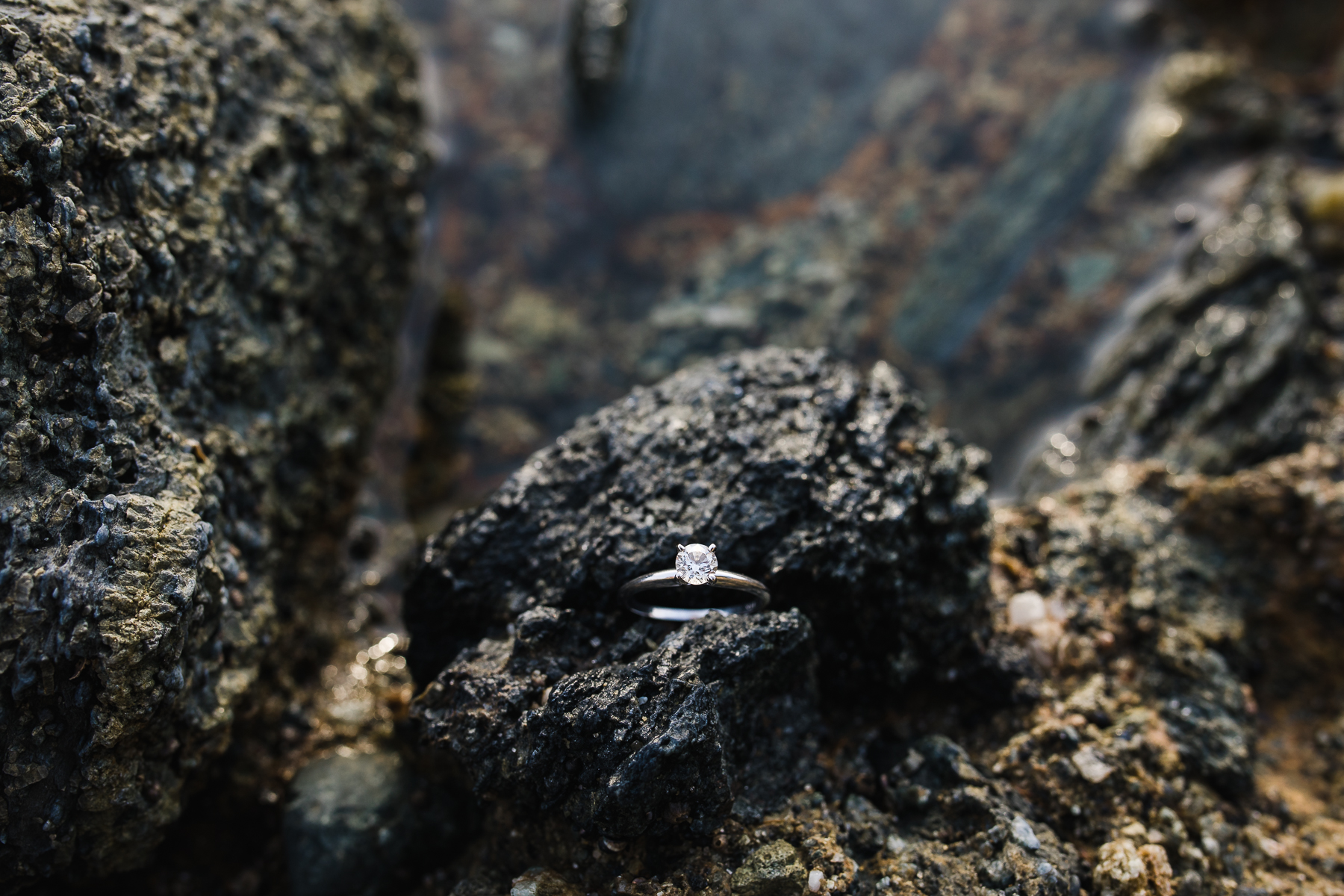 Solitaire diamond engagement ring shot by Megan Lee Photography