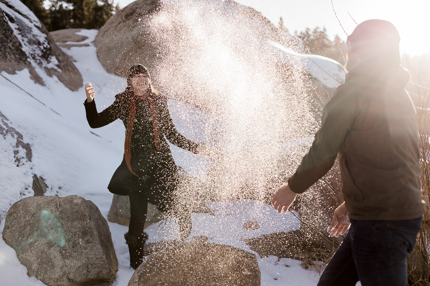 Snowy engagement photos by Wyoming based photographer