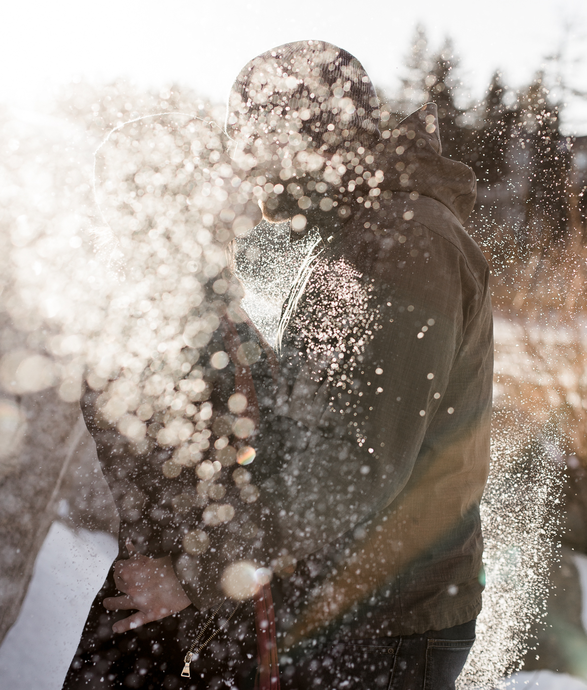 Casual Snowy engagement photos in California