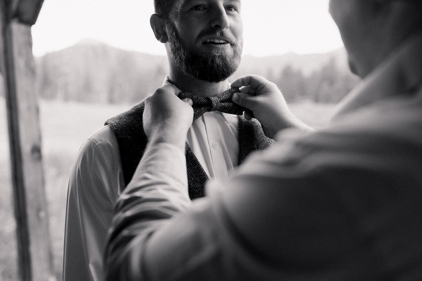 Groom getting ready wedding day details
