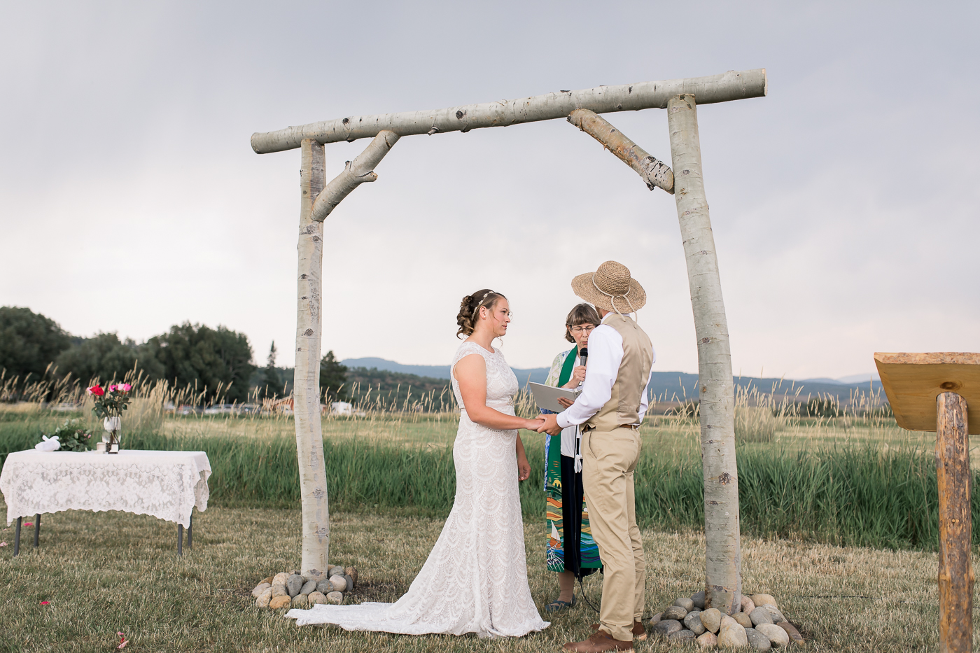 Intimate outdoor wedding ceremony in Colorado